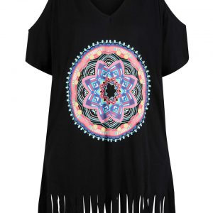 Sukienka plażowa cold-shoulder z przyjaznego dla środowiska materiału bonprix czarny