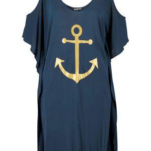 Sukienka plażowa cold-shoulder bonprix ciemnoniebiesko-złoty z nadrukiem