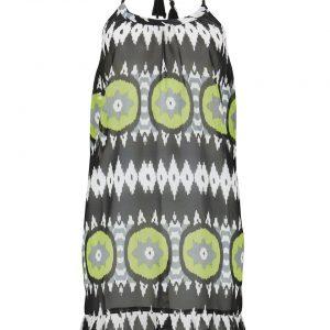 Sukienka plażowa bonprix czarno-zielony w graficzny wzór