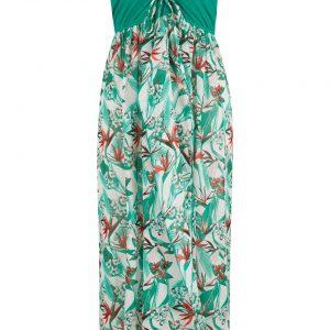 Sukienka plażowa bandeau bonprix zielony miętowy w kwiaty