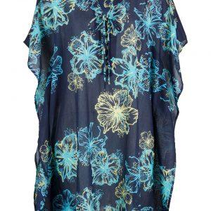 Sukienka plażowa bonprix ciemnoniebiesko-turkusowy w kwiaty