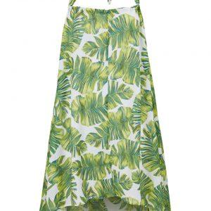 Sukienka plażowa z dekoltem halter bonprix biało-zielono-żółty w roślinny wzór