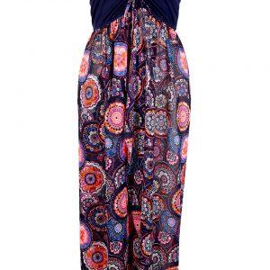 Sukienka plażowa bonprix ciemnoniebiesko-różowy wzorzysty