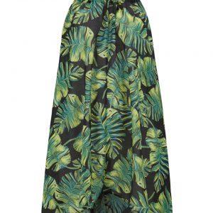 Sukienka plażowa z dekoltem halter bonprix czarno-zielono-żółty w roślinny wzór