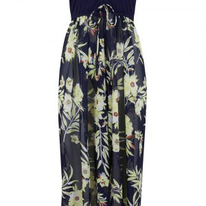 Sukienka plażowa z dekoltem bandeau bonprix niebiesko-żółty w kwiaty