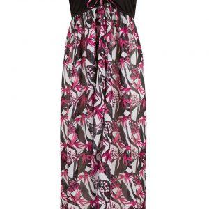Sukienka plażowa bandeau bonprix biało-czarny w kwiaty