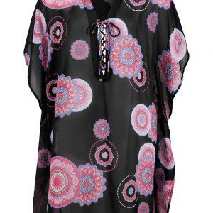 Sukienka tunikowa plażowa bonprix czarny z nadrukiem