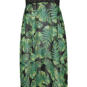 Sukienka plażowa 2 w 1 bonprix czarno-zielony w kwiaty