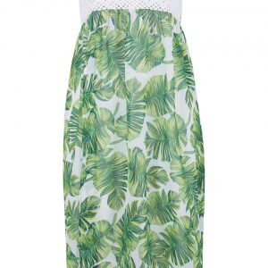 Sukienka plażowa 2 w 1 bonprix biało-zielony z roślinnym nadrukiem