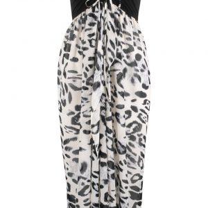 Sukienka plażowa z dekoltem bandeau bonprix czarno-biały z nadrukiem