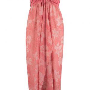 Sukienka plażowa z dekoltem bandeau bonprix stary jasnoróżowy - rabarbarowy z nadrukiem