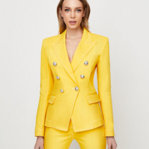 BALMAIN - Dwurzędowa marynarka w kolorze żółtym