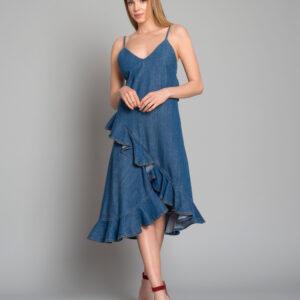 KENZO - Sukienka jeansowa z falbanką