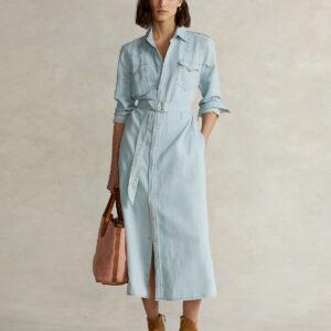 RALPH LAUREN - Jeansowa sukienka midi