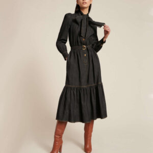 LUISA SPAGNOLI - Jeansowa sukienka midi z kokardą GRECIA