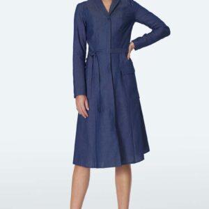 Rozpinana Sukienka Jeansowa z Kieszeniami