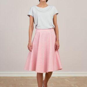 Spódnica Carissa bawełna z lnem różowa