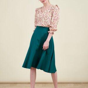 Spódnica Carissa wiskoza z bawełną szmaragdowa zieleń