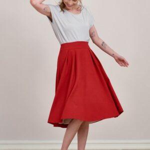 Spódnica Lucia krepa wiskozowa malinowa czerwień